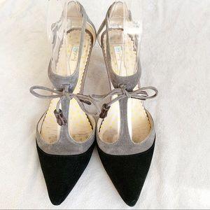 Boden Alice Grey Black Suede T Strap Heels 8.5